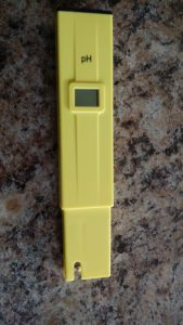 Front of the pH Meter.